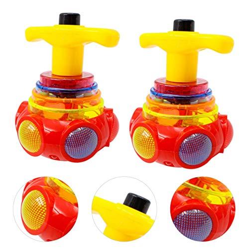 Toyvian 2 Stück LED Leuchtende Kreisel mit Gyroskop Neuheit Spielzeug für Kinder Party Begünstigt Geschenke (Zufällige Farbe)