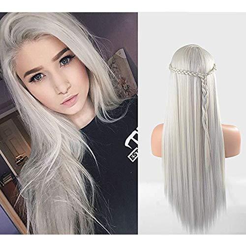 Eseewigs lange gerade Perücke Silber Platinum Blonde Farbe Kunsthaar Lace Front Perücken Hitzebeständige Fibe Party Perücke 130% Dichte für Frauen 24 Zoll