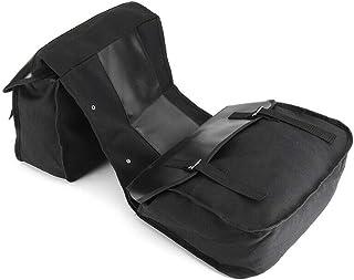 Meiyiu Leather Motorbike Touring Saddle Bag Waterproof Motorcycle Canvas Panniers Box Black