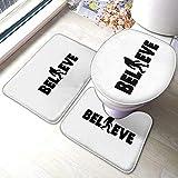 Bigfoot I Believe, juego de 3 alfombrillas para inodoro, antideslizante, absorbente, súper acogedor, 40 x 60 cm