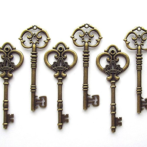 Makhry Mixed 20 Extra Large Antique Bronze Finish Skeleton Keys Rustic Key for Wedding Decoration Favor(Bronze)