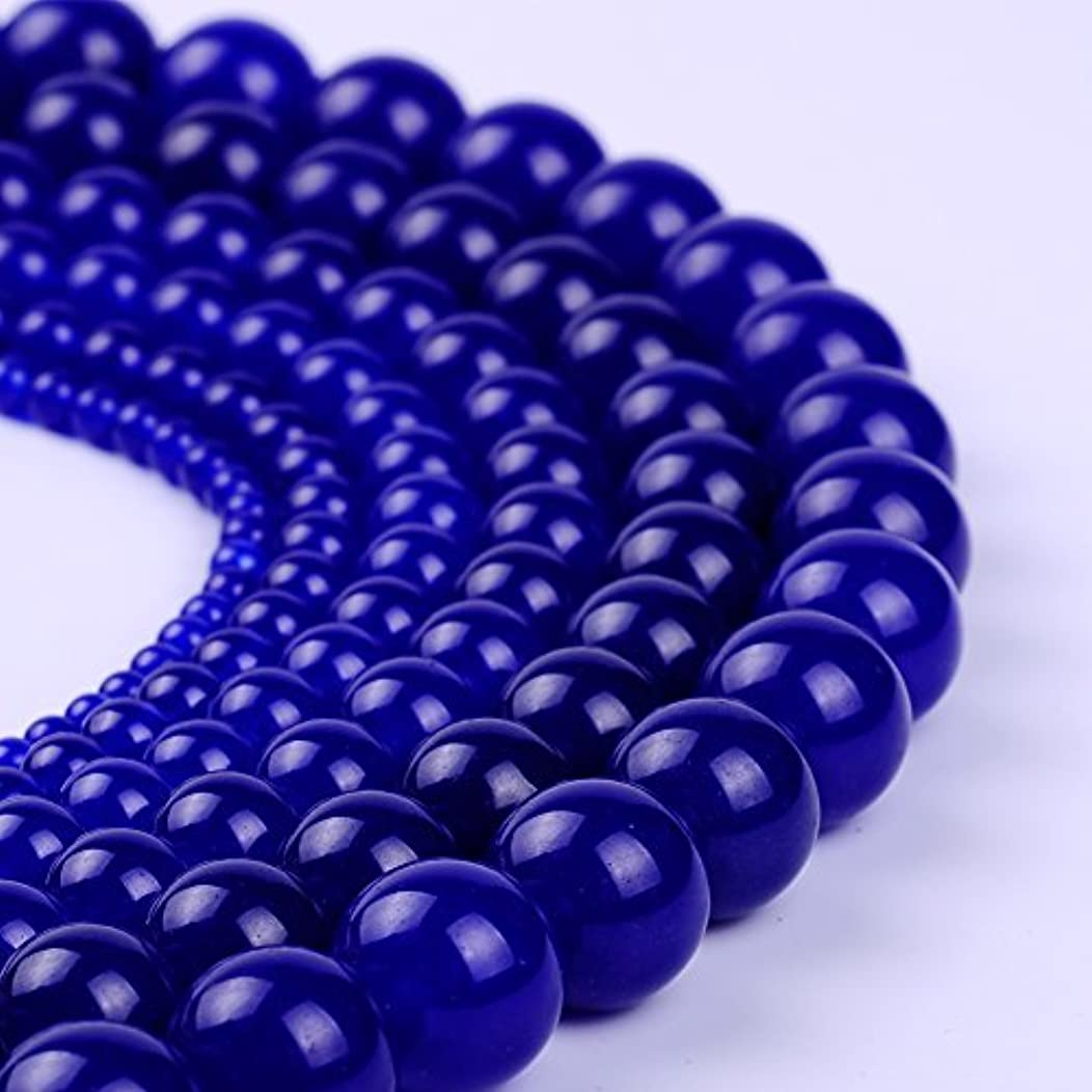 Natural Stone Beads Round Jade Loose Beads Bulk For Jewelry Making 4MM, 6MM, 8MM, 10MM ,12MM (12MM, dark blue)
