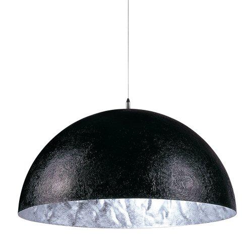 s.LUCE Blister riesige Pendelleuchte Ø 70cm schwarz silber Esstisch-Hängeleuchte Wohnzimmer-Hängelampe Kinderzimmer Küchenleuchte Glocke