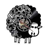 LKJHGU Disco de Vinilo Varios Estilo Animal decoración Minimalista Moderna diseño Moderno Reloj de Pared de Vinilo Retro Oveja nostálgica Baa