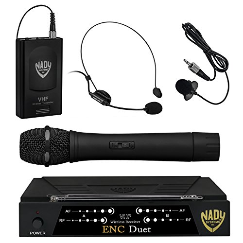 Nady ENC DUET Wireless Dual Channel Handheld/Lavalier/Headset Microphone System with 2 Wireless Transmitters