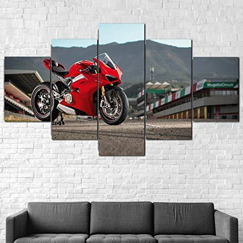 QZWXEC Motocicleta Ducati Panigale V4 S 5 Parti XXL Cuadros Decoracion Salon 5 Piezas Material Tejido no Tejido Impresión Artística Imagen Decoracion de Pared Cuadro -,(H-80 cm x M/B-150 cm)
