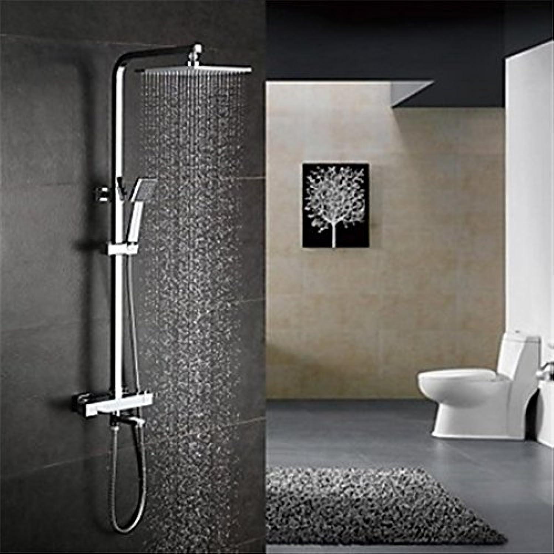 YFF@ILU Home deco Accessoires moderne Dusche System THERMOSTATISCHE Regendusche Handdusche mit Keramik Ventil zwei Griffen drei Bohrungen für Chrom enthalten