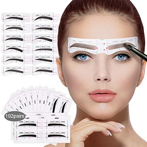 192 Paare Augenbrauen Schablone,12 Augenbrauen Formen, Augenbrauen AufkleberfürAnfänger,Schöne AugenbrauenSchablonenformer (Stil 1)