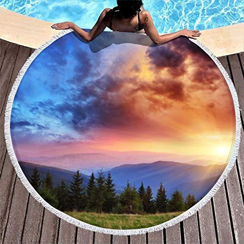 Gamoii Toalla redonda de playa con diseño de amanecer, paisaje natural, manta de pícnic o playa, secado rápido, superabsorbente, para colgar y pícnic con flecos, para color blanco, 150 cm