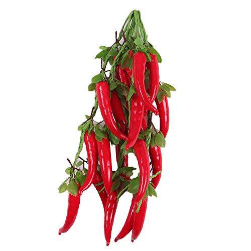 Sharplace 5Pcs Hängen Deko Obst Kunstobst Kunstgemüse künstliches Obst Gemüse für Heim Garten Dekoration - Rot Pfeffer mit Blätter