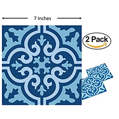 Planet Ethnic Soft PVC Moroccan Tile Designer Trivet Set (2 Trivets). 7 inch X 7 inch square design with 0.2 inch thickness.