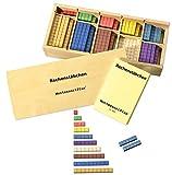Rechenstäbchen in Montessori-Farben, 200 St., Montessori Material zur Freiarbeit Mathematik