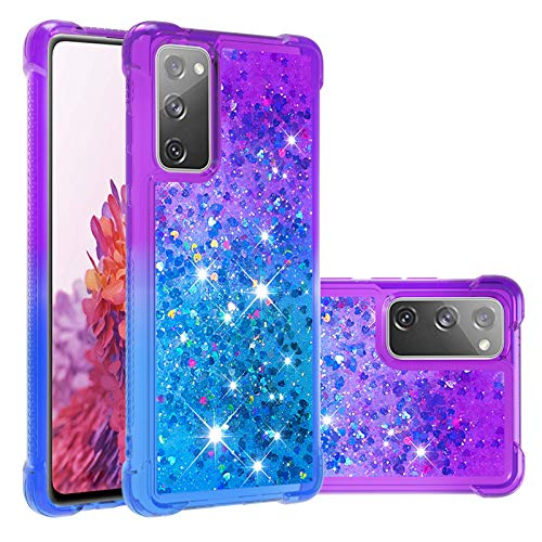 "Ranyi Galaxy S20 FE 5G Case, S20 FE Quicksand Case, Gradient Rainbow Liquid Glitter Case with Reinforced Corner TPU Rubber Bling Quicksand Protection Case for Samsung Galaxy S20 FE 5G 6.5"" purple/blue"