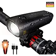 Antimi LED Bike Light Set, USB Rechargeable Headlamp IPX5 Waterproof Bicycle Light Mountain Bike Light Front Light Taillight with Samsung 2600 mAh Li-ion battery (Black)