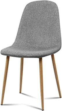 Artiss Dining Chairs Set of 4, Fabric Upholstered Dining Chairs with Iron Legs, Light Grey