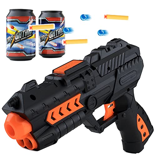 Air Blaster Toy Gun Pistol with Water and Foam Bullets and Target Cans Long Shooting Range Up to 50...