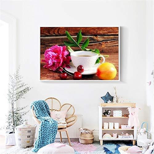 Diamond Painting large Full Drill Taza de café escénica,5D DIY pintura Diamantes de imitación de cristal dot punto de cruz bordado art Living bedroom wall decor Regalo Round Drill,60x80cm(24x32in)