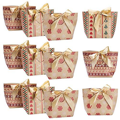 12 Stück Papiertragetaschen, Etercycle Kraftpapiertüten mit Bogen Band, Papiertasche für die Weihnachten, Geburtstagsfeier, Babyparty, Partei Beutel Papiertüten
