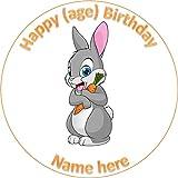 19 cm círculo redondo conejo conejo animal pastel decoración impreso papel comestible oblea personalizado