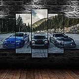 IKDBMUE Cuadro En Lienzo 5 Piezas JDM Supra Nissan Skyline NSX Car Arte De Cartel Pared DecoracióN del Hogar Cuadro Lienzo Pintura para Sala para Colgar En Un Marco