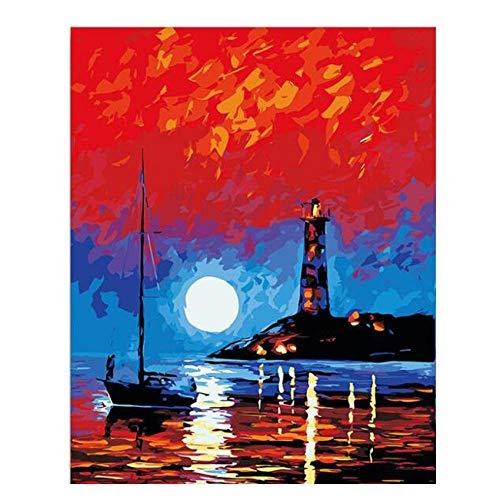 Alesx maanvergunning zee DIY schilderen op cijfers boot schilderij kalligrafie uniek geschenk voor woonkamer vuurtoren wooncultuur 40x50cm Rahmenlos 40 x 50 cm, zonder lijst.
