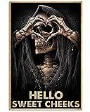 BCTS Letrero de metal para decoración de pared, diseño vintage con texto 'Hello Sweet Cheeks Death Skelet'