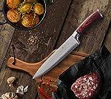 Wakoli Edib Damastmesser Chefmesser, Klinge 20,00 cm Länge - sehr hochwertiges sehr scharfes Profi Chefmesser mit Damastklinge und Pakkaholzgriff, Küchenmesser, Kochmesser - 3