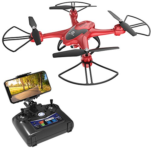 Holy Stone HS200D FPV RC Drone with 720P Camera 120°FOV Live Video WiFi Quadcopter for Beginners and Kids RTF RC Helicopter with Altitude Hold Headless Mode 3D Flips One Key Take-Off/Landing Color Red