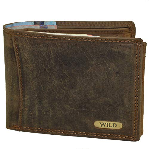 flevado Herren Geldbörse 100% Büffel Leder mit RFID Schutz Querformat (braun)
