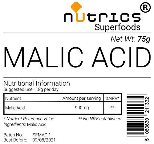 Nutrics® Polvo vegano 100% puro ácido málico, grado farmacéutico, 75 g, Nutrics Superfoods