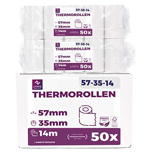 Papel térmico 57mm x 14m x 12mm - Ideal para máquinas de tarjetas de Crédito - Rollos ideal para todos los TPV y las impresora térmica - (57x35x12) Blanco -Sin BPA (50 Rollos )