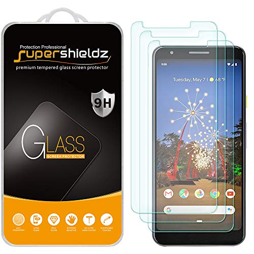 (3 Pack) Supershieldz Designed for Google (Pixel 3a XL) Tempered Glass Screen Protector, 0.33mm, Anti Scratch, Bubble Free