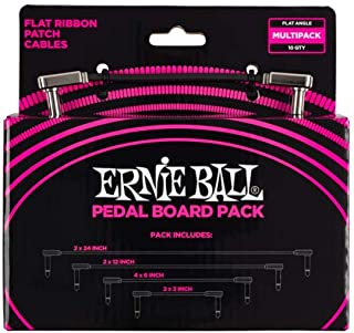 Ernie Ball P06224 Flat Ribbon Patch Cables Pedalboard Multi-Pack, Various