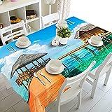 Mantel con patrón de Playa Junto al mar 3D, Mantel Rectangular de Tela Lavable,...