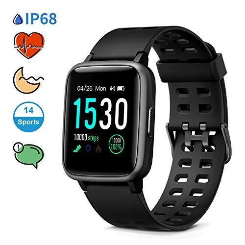 Glymnis Smartwatch Orologio Fitness Smart Watch Uomo Donna Impermeabile IP68 Cardiofrequenzimetro da Polso Contapassi e Calorie da Polso,con Touch Screen da 1.3 Pollici per iphone Samsung Huawei
