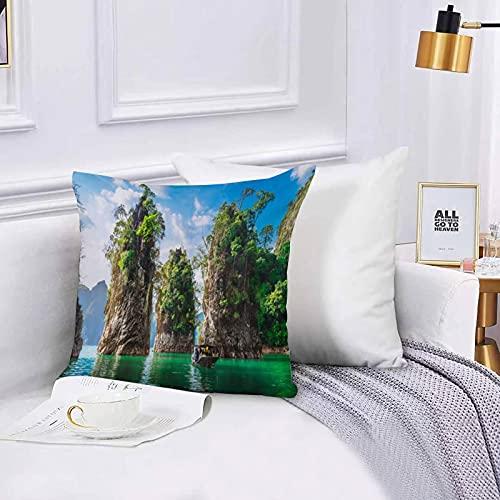 Lilatomer Funda de algodón 45 x 45 cm Hermosa Naturaleza Tailandia Viajero Isla Roca Sofá Throw Cojín Almohada Caso de la Cubierta para Sala de Estar 45x45cm