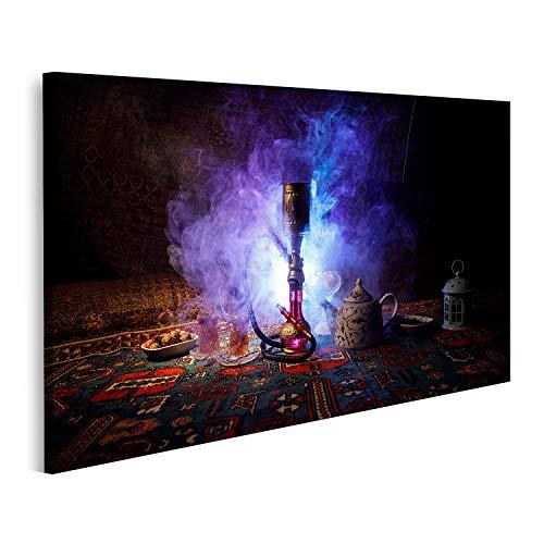 Cuadro en lienzo Las brasas de la cachimba en el tazón de shisha hacen nubes de vapor dentro de Arabia Ornamento oriental en la alfombra Ceremonia del té oriental Cuadros Modernos Decoracion