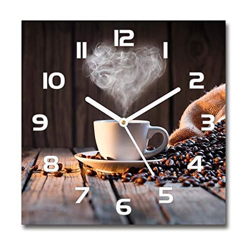 Tulup Glasuhr - 30x30cm - Wanduhr Wandkunst Bild Gehärtetem Glas Uhr Echtglas Küche Wohnzimmer - Weiß - Eine Tasse Kaffee