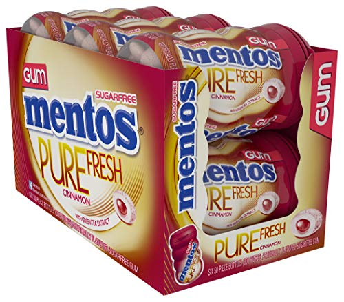 Mentos Pure Fresh Sugar-Free Chewing Gum with Xylitol, Cinnamon, 50 Piece Bottle (Bulk Pack of 6)