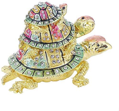 JHZQK - Joyero de tortuga con cristales brillantes con bisagras, pintada a mano, soporte para anillos