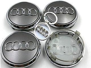 Set Of Four Alloy Wheels Centre Hub Caps S Line Red Logo Grey Silver Cover Badge 60 mm Fits Audi S Line Set de quatre Jantes en aluminium Lot de 4 enjoliveurs Centre Rouge Logo Gris Chrome Argent