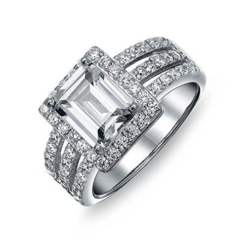 Bling Jewelry Art Déco-Stil 3Ct Rechteckige AAA CZ DREI Pave Band Verlobungsring Zirkonia Silber