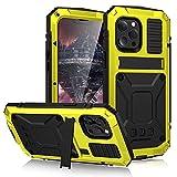 Funda para iPhone 13/13 Pro/13 mini/13 Pro Max/13 Mini, [Anti-Polvo & Anti-Arañazos] Heavy Duty Metal Bumper Antichoque Case con Soporte,Yellow,iPhone13