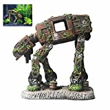 fazhongfa Aquarium Decorations Castle and Robot Dog Fish Tank Decor for Betta Toys Small and Medium Resin Fish Accessories Hideouts Cave Hide House Ornament Backgrounds Decoration