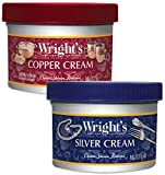 Wright's Silver and Copper Cream Cleaner and Polish - 8 Ounce Each - Ammonia Free - Premium Metal Polish Silver Copper Brass Chrome Porcelain and More