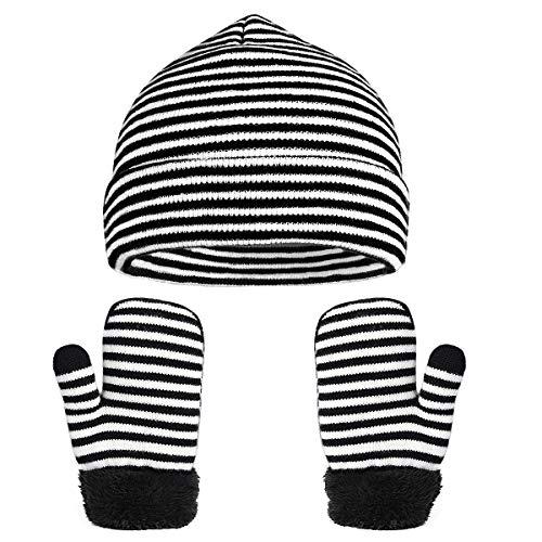 VBIGER Beanie Wintermütze Handschuhe Set Für Mädchen und Jungen, Warm Winter Baby Handschuhe und Strick mütze Mädchen Jungen Geschenk 2 Stücke,1-5 Jahre alt.
