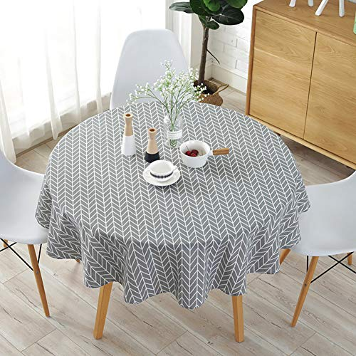 Tolyneil - Tovaglia rotonda in stile nordico, resistente all'olio, impermeabile, in cotone e lino, per cucina, sala da pranzo, ristorante, festa