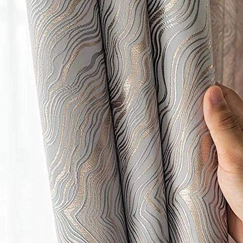 """1 Pair Luxury Striped Curtains for Living Room Jacquard Wave Curtains for Bedroom (Silver Gray,54""""x96"""")"""