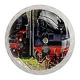 4 pomos de cristal para gabinete, 30 mm, tirador de cristal, tiradores de cajón de cristal para cocina, baño, locomotora de tren de vapor ferroviario