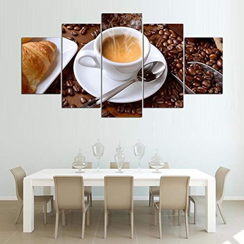 GYSS 5 Panel Hd GedrucktMalerei Leinwand Poster 5 Stück Dampfende Kaffeetasse Bilder Für Küche Lebensmittel Hause WandRahmen